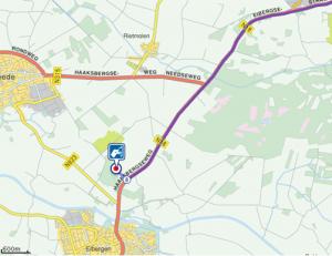 Routekaart Haaksbergen naar Blokhut bij Eibergen